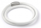 Double White Leather Wrap Story Bracelet with Magnetic Clasp - WB007