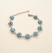Light Blue Evil Eye Bracelet Kabbalah Hand Of Fatima Hamsa Silver