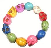 Multi Coloured Chunky Howlite Skull Bracelet