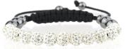 Shamballa bracelet 11 8mm Czech. disco ball beads crystal highly polished hematite bling woven friendship- White