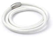 Triple Wrap White Leather Story Bracelet with Magnetic Clasp - WB006