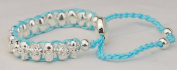 Turquoise skull friendship bracelet quality silver plated woven links on colour cord Shamballa beads silver unisex.