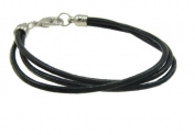Charming Bead Store Classic Black 3-Strand Faux Leather Bracelet With Silverplated Lobster Clasp#148