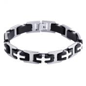 JewelryWe Cool Mens 316l Stainless Steel Cross Bracelet Black Rubber Chain Link Wrist Band Wristband Wristware 21cm