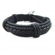 Jirong Fashion Adjustable Leather and Rope Cuff Bracelet Gift for Men Unisex Bracelet Sl0098-2