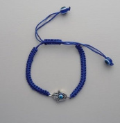 Blue Hamsa Bracelet With Rotating Evil Eye Pendant