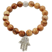Shamballa ball bracelet by BodyTrend © - genuine marble beads and Iced out ball with hand of Fatima Charm - packed in a cute velvet pouchette - Fits 18cm to 22cm