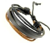 Neptune Giftware Mens Black Leather Double Strap & Black & Brown Coloured Cords Leather Bracelet / Leather Wristband / Surf Bracelet - 88