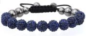 Shamballa bracelet 11 10mm Czech. disco ball beads crystal highly polished hematite bling woven friendship- Navy / Dark Blue