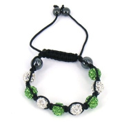 Kids shamballa bracelet with clay crystal disco sparkling balls - KB11 Green and Silver
