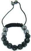 Kids stringless shamballa bracelet with clay crystal disco sparkling balls - KWK1 Black