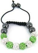 Kids stringless shamballa bracelet with clay crystal disco sparkling balls - KWK14 Green and White