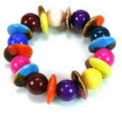 Multi Colour Chunky Beads And Discs Bracelet