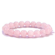 Merdia Women Natural Rose Quartz Bracelet 10mm Pink
