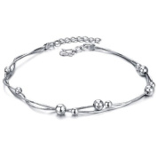 OPK-New Fashion Jewellery Adjustable Women's Snake Chain Anklet Bracelet 18K White Gold Plated Silver Spacer Bead Foot Chain New Design . Personality Gift Never Fade And Nickle Free 26cm Length 5.5g Weight