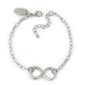 Polished Rhodium Plated 'Infinity' Bracelet - 18cm Length/ 5cm Extension
