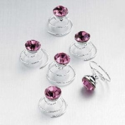 Pack of 6 Pink Crystal Metal Swirl Hair Acessories for Wedding & Party