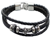 Multi Black Leather Bracelet by BodyTrend© embellished with antique silver-toned Skull and Beads, fashionable and durable, fits just right!