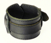 Neptune Giftware Black Leather Strap Cuff Wrap Gothic Wristband Bracelet Buckle Fastening - 55