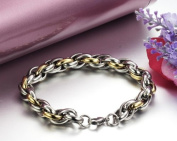 JewelryWe New Arrivals Mens 316l Stainless Steel Chain Link Twisted Bracelet Wristware Gold Silver Colour
