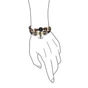 Bling Jewellery Nautical Anchor Leather Wrap Surfer Bracelet Black Cats Eye Bead