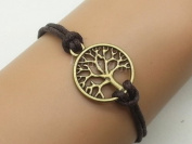 Vintage Style Life Tree Bracelet Antique Bronze Brown Wax Cord Charm Bracelet Christmas and New Year Gift 2542r