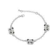 Dreamslink Fashion Jewellery 18K White Gold Plated Chain. Elements Austria Crystal Lovely Three Cute Panda Bracelet 85332