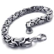 Konov Jewellery Men's Classic Stainless Steel Box Bracelet, Colour Silver, Length 23cm