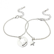 Unique friendship, couple bracelet, Engraved 'Forever with you' 2 bracelet which slot together, includes 2 gift bags