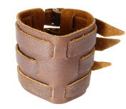 Neptune Giftware Brown Leather Wide Triple Strap Cuff Wrap Gothic Wristband Buckle Fastening - 235