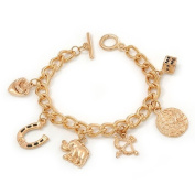 Gold Plated Charm On Chunky Oval Link Chain Bracelet With T-Bar Closure - 19cm Length