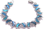 Blue Paua Shell Butterfly Shaped Bracelet With Lobster Claw Clasp