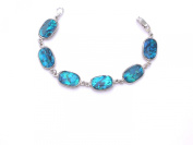 Genuine Blue Paua Shell Oblong Shaped Bracelet With Lobster Claw Clasp