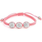 Bling Jewellery Pink Childrens Shamballa Inspired Bracelet White Crystal Bead 10mm