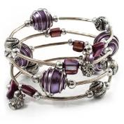 Silver-Tone Beaded Multistrand Flex Bracelet