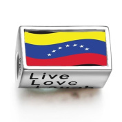 SoufeelonlineVenezuela Flag Words Live Love Laugh Bead Charm Fit Pandora Chamilia Biagi beads Charms Bracelet