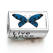 SoufeelonlineExotic Blue Butterfly Words Live Love Laugh Bead Charm Fit Pandora Chamilia Biagi beads Charms Bracelet