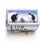 SoufeelonlineFashion Animal Penguin In Antarctica Words Live Love Laugh Bead Charm Fit Pandora Chamilia Biagi beads Charms Bracelet
