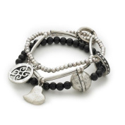 Bling Rocks Designer Contemporary Celebrity Style 'Capture My Heart' 3 layer Stretch Charm and Bead Bracelet.