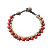 Ploy! Red Coral Beads Brass Bracelet Waxed Cotton Cord Hippie Gypsy Handmade BB8