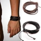 Jirong 2-Pack Leather Black & Brown Bracelets - Adjustable Wristband - Great For Men, Women, Teens, Boys, Girls SL1