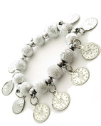 Jewellery Of The Planet Turkish Belly Dancers Adjustable Bracelet With Jingle Jangle Silvered Coin