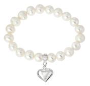 925 Sterling Silver Heart Charm Freshwater Pearl Stretch Bracelet 17.5 cm