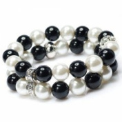 Divadoo Black and White Faux Pearl Twin Fashion Bracelet