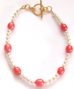 Peach Pearl and White Faux Pearl Bracelet