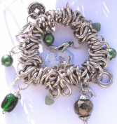 Hematite & Green Beaded With Silver Coloured Multiring Stretch Bracelet