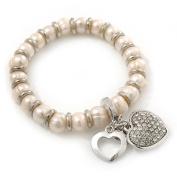 Freshwater Pearl. Crystal 'Heart' Charm Flex Bracelet In Rhodium Plating - 18cm Length
