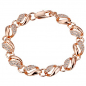 18ct rose Gold Plated Chain Bracelet Health Jewellery Nickel Free Rhinestone Austrian. Elements Crystal B021