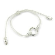 Friendship Bracelet 925 Silver with 'Angel' inscribed White cotton Bracelet