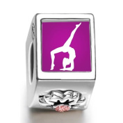 London 2012 Olympics Gymnastics-Artistic July birthstone photo flower European charms fit pandora bracelets